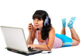 The girl in headphones with a microphone — Stock Photo