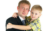 The son on hands of the father. Happy fa — Stock Photo