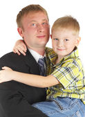 Son on hands of the father — Stock Photo
