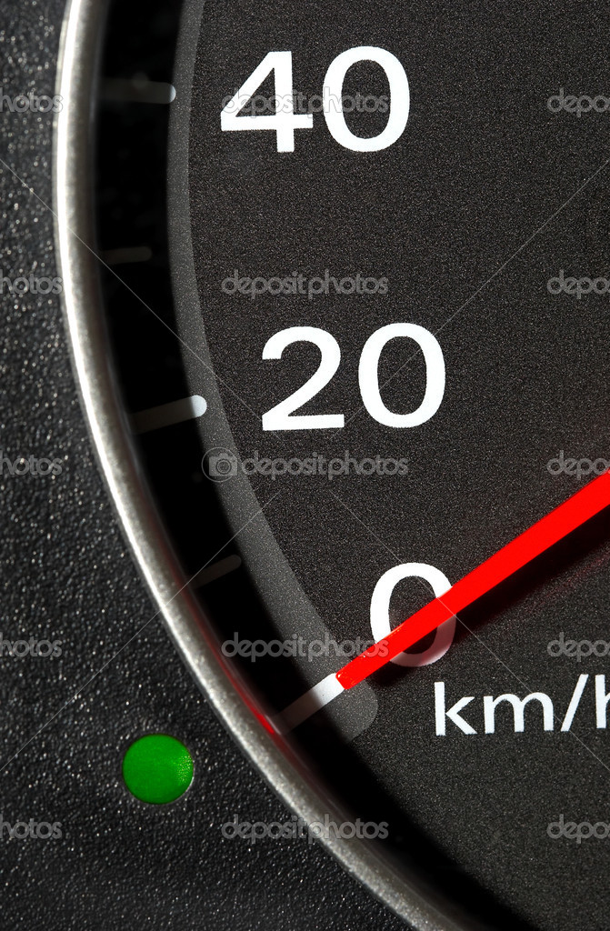The instrument panel of the car. Red arrow.  Stock Photo #1320575