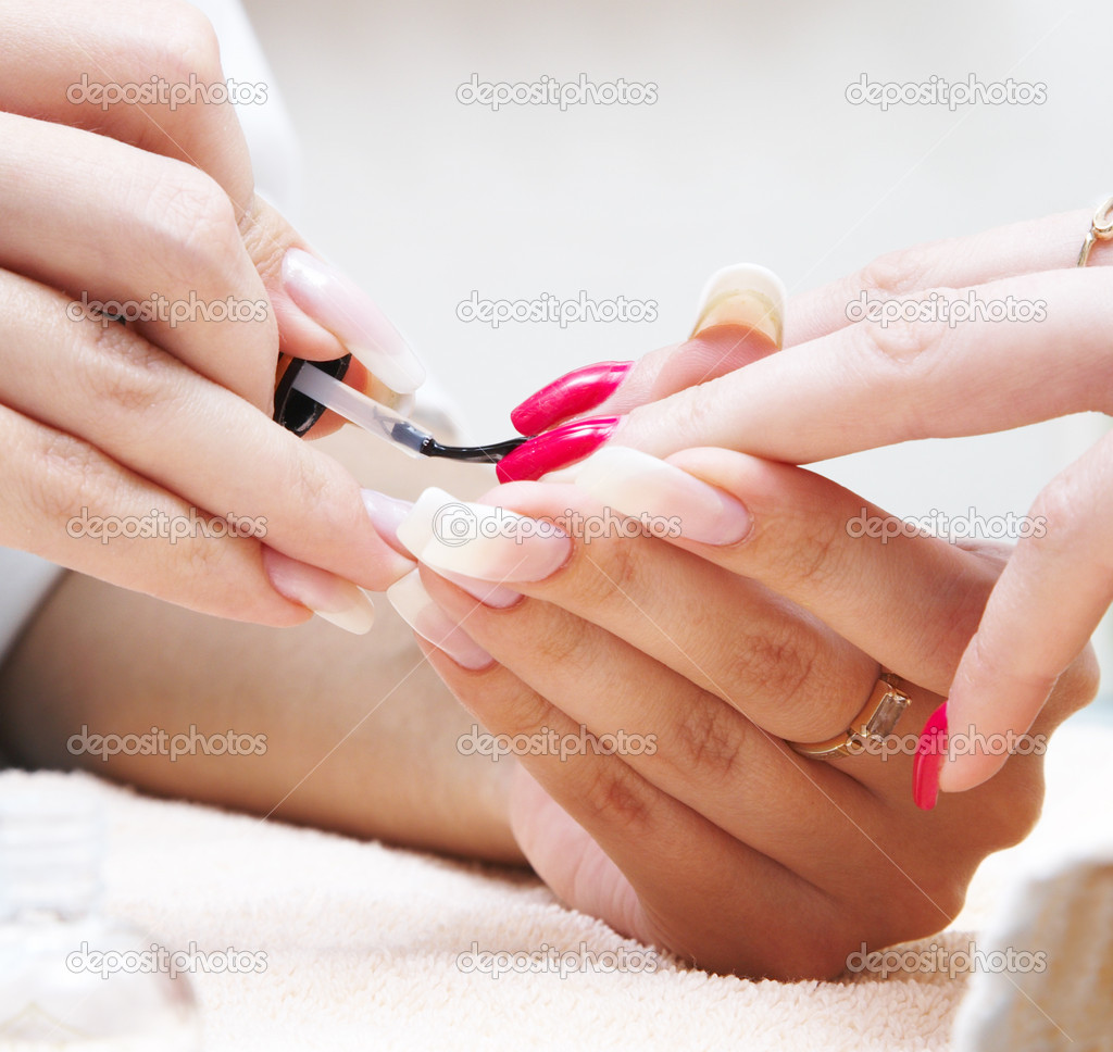 Manicure process... Female hands... — Stok fotoğraf #1324304