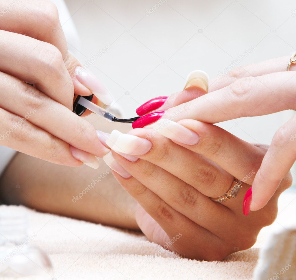 Manicure process... Female hands... — Stockfoto #1324304