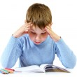 Schoolboy with the book — Stock Photo