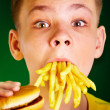 Child and fast food. - Foto de Stock