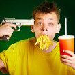 Child and fast food. - Stockfoto