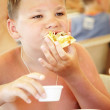 Boy in summer cafe on a beach — Stock Photo