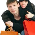 el hombre y la mujer - compras — Foto de Stock
