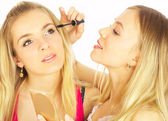 Girls on a white background. Make-up. — Stock Photo