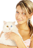 Portrait of the girl with a cat — Stock Photo