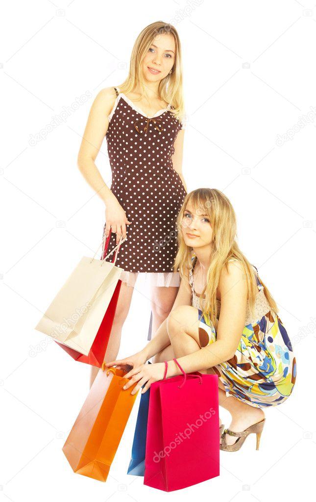 Handbagage Två Väskor : Tv? tjejer med v?skor stockfotografi ? cookelma