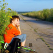 Stock Photo: The boy on road