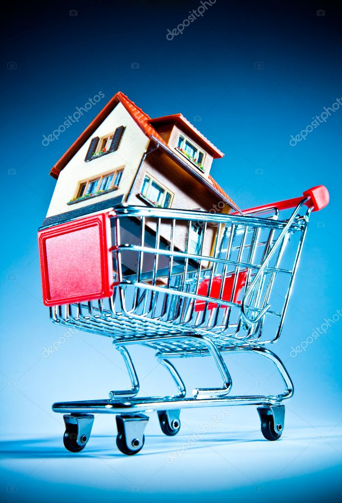 House in shopping cart on a blue background — Stock Photo #1526371