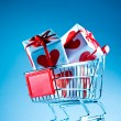 Shopping cart ahd gift — Stock Photo #1623215