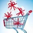 Shopping cart ahd gift — Stock Photo #1623403