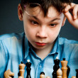 Nerd play chess — Foto Stock
