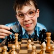 Nerd play chess — Stock Photo #1793158
