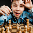 Nerd play chess — Lizenzfreies Foto