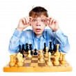 Nerd play chess - Stockfoto