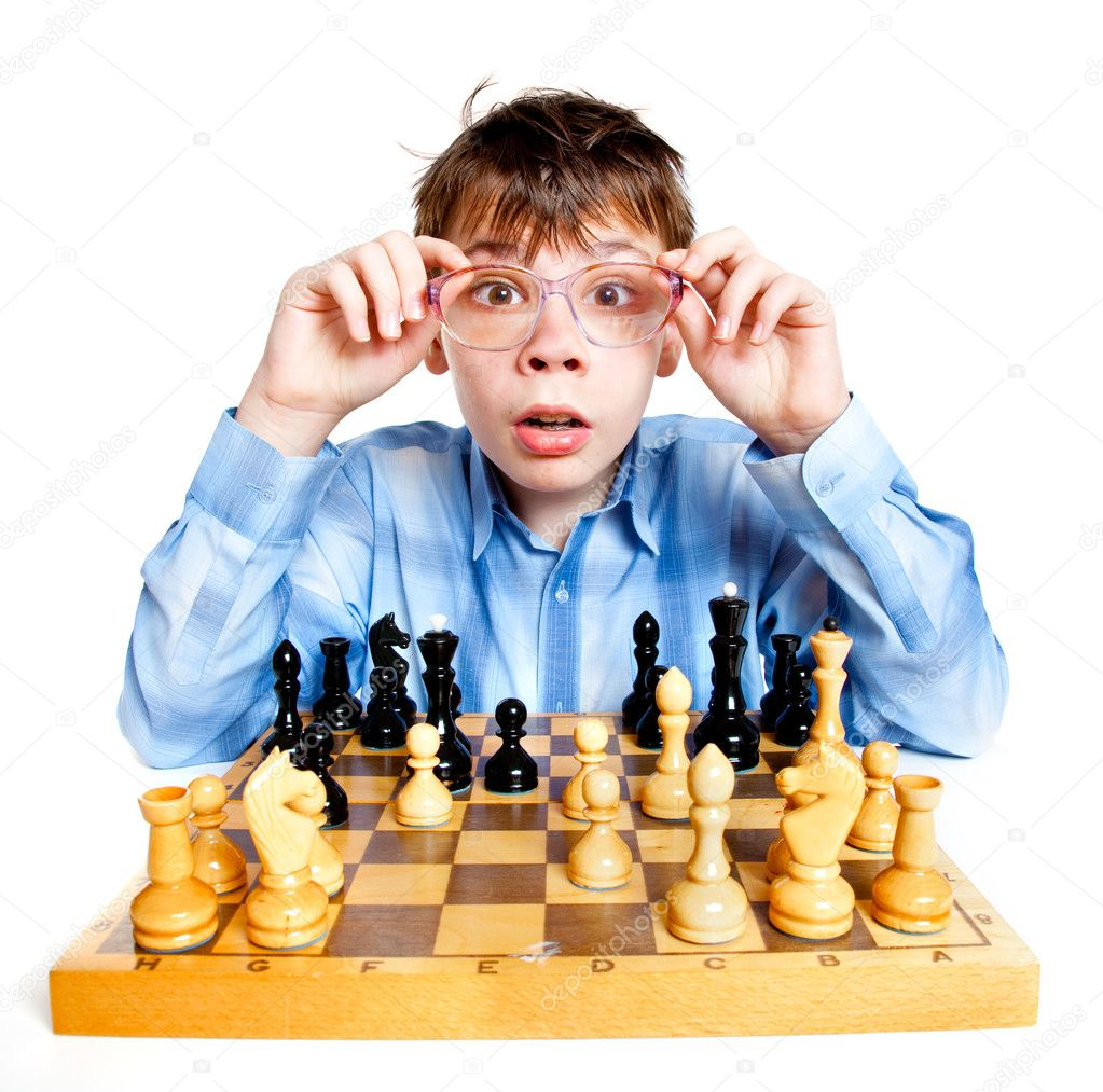 Nerd play chess on a white background — Stock Photo #2371179