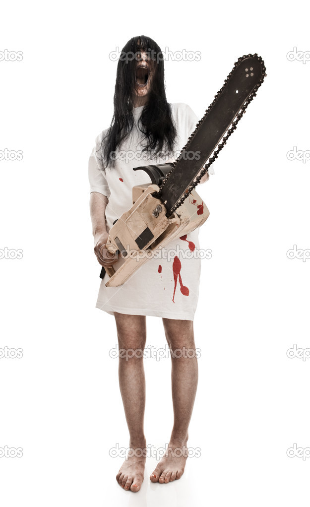 horrific madwoman on a white background and gasoline-powered saw — Stok fotoğraf #2547736