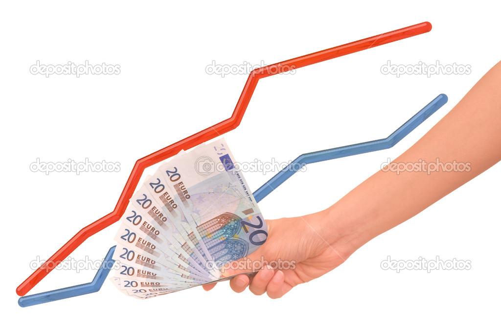 Euro in the woman's hand as an indicator of economy increase — Stock Photo #1156123