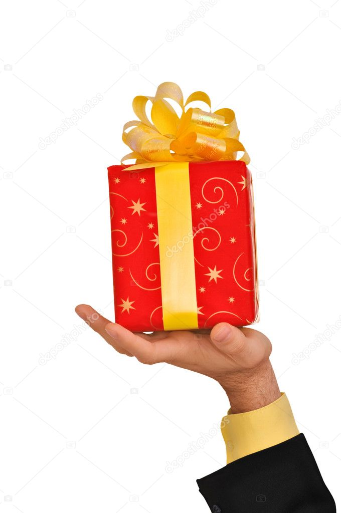 Red box with yellow bow as a gift  — Stock Photo #1367944
