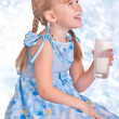 Girl with milk — Stock Photo