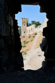 Genovese stronghold through the window — Stock Photo