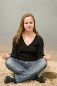 Girl meditating — Stock Photo