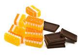 チョコレートとフルーツ ゼリー — ストック写真