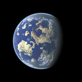 Earth-like planet on black background — Stock Photo