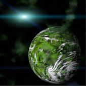 Green planet on galactic background — Stock Photo