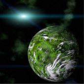 Planeta verde sobre fondo galáctico — Foto de Stock