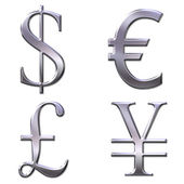 Eur, dollar, yen, pound symbols — Stock Photo