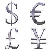 Euro, dollar, yen, pond symbolen — Stockfoto