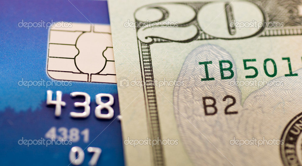 Macro view on money and credit card  Stock Photo #1112418