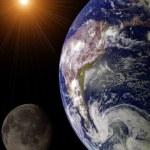 Sun, Earth and Moon illustration — Stock Photo