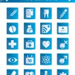 Stock Vector: Set of beautiful blue medical icons.