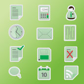 Green office icon set. — Stock Vector