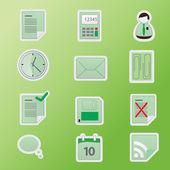 Green office icon set. — Stock Vector