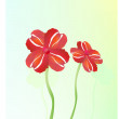 Stock Vector: Beautiful red flowers on grass.