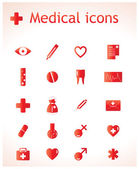 The set of red medical icons. — Stock Vector