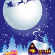 Christmas night — Stock Vector