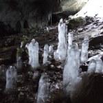 Grotto with ice stalagmites — Stock Photo #1493427