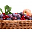 Wonderful fruits in the wooden basket. — Stock Photo
