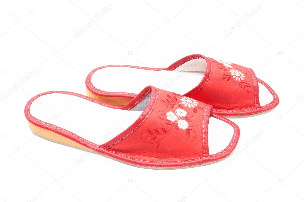 Nice  red slippers isolated on a white background. — Stock Photo #1102980