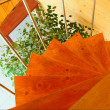 Spiral staircase in  the modern  wooden - Stock Photo