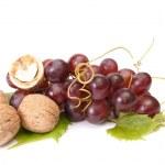 Tasty , ripe walnuts and grape isolated — Stock Photo