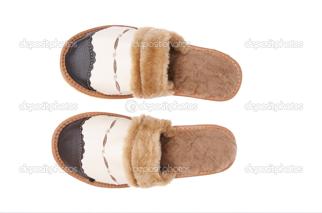 Brown slippers with fur isolated on a white background. — Stock Photo #1120346