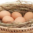 Chicken eggs in the brown basket and hay — Stock Photo